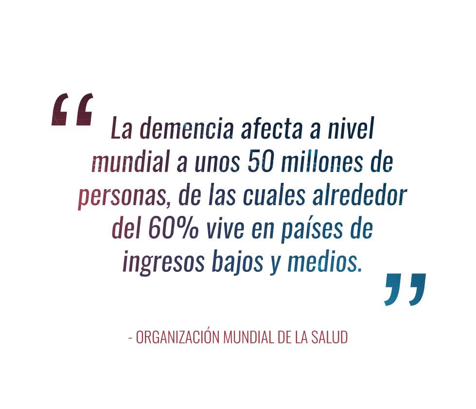 """""""La demencia afecta a nivel mundial a unos 50 millones de personas, de las cuales alrededor del 60% vive en países de ingresos bajos y medios."""" - Organización Mundial de la Salud"""